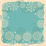 Snowflakes  shabby background in blue Royalty Free Stock Images