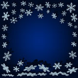Snowflakes with shadow. Blue Christmas background Stock Photo