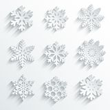 Snowflakes shape vector icon set. Stock Photo