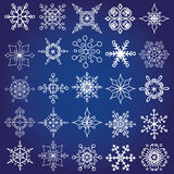 Snowflakes shapes big set.Christmas,winter decor Stock Photos