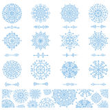 Snowflakes shapes,divider borders ,pattern Royalty Free Stock Photography