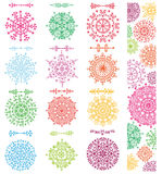 Snowflakes shapes,divider borders set,pattern Stock Images
