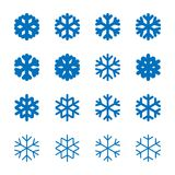 Snowflakes signs set. Blue Snowflake icons isolated on white background. Snow flake silhouettes. Symbol of snow, holiday. Cold weather, frost. Winter design Stock Photography