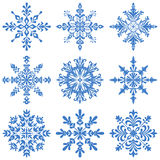 Snowflakes Silhouette Set Stock Photo