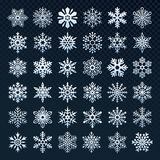 Snowflakes silhouette. Winter snow symbol, ice snowfall and cold snowflake isolated vector icon set. Snowflakes silhouette. Winter snow symbol, xmas ice snowfall stock illustration