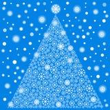 Snowflakes silhouettes christmas tree Stock Image