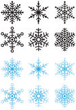Snowflakes. Six snowflakes, colored and solid black for use as a mask or in video Stock Images