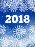Snowflakes and Snow 2018, Vector Illustration. Snowflakes and snow 2018 banner, lots of frozen ice crystals both big and small, lettering and year number vector Stock Photography