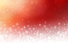 Festive winter red background. Snowflakes and snow powder on a frozen red background - Winter material Stock Image