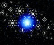 Snowflakes in space Stock Image
