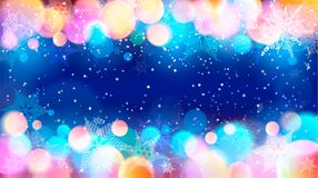 Snowflakes and specks of light. Vector illustration of snowflakes and colorful specks of light on blue background Stock Image
