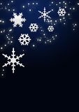 Snowflakes and stars. In night background Stock Photography
