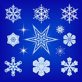 Snowflakes and Stars. Vector icon set of snowflakes and stars Stock Photo