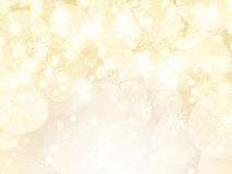 Snowflakes and stars background. Decorative gold Christmas background of snowflakes and stars vector illustration