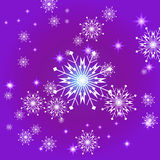 Snowflakes and stars background Royalty Free Stock Image