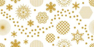 Minimalism style festive Christmas background. Seamless victor pattern. Snowflakes, stars and circles with different ornaments. Retro design collection. Golden Royalty Free Stock Images