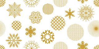 Minimalism style festive Christmas background. Seamless victor pattern with geometric motifs. Snowflakes, stars and circles with different ornaments. Retro Stock Photography