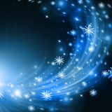 Snowflakes and stars descending on background Stock Photos