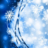 Snowflakes and stars descending on background Royalty Free Stock Photo
