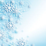 Snowflakes and stars descending on background Stock Photo