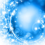 Snowflakes and stars descending on background Stock Image