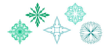 Snowflakes stars flowers and diamond shaped vectors with ornate details Royalty Free Stock Images