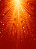 Snowflakes and stars on golden light. EPS 8 Royalty Free Stock Images