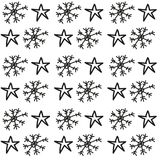 Snowflakes and stars pattern Stock Images