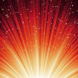 Snowflakes and stars on path light. EPS 8. Snowflakes and stars descending on a path of red light. EPS 8 vector file included Stock Photography