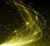 Snowflakes and stars shining descending on golden Royalty Free Stock Photography