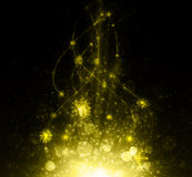 Snowflakes and stars shining descending on golden Royalty Free Stock Photo
