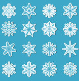 Snowflakes sticker set.  stickers for your design. Vector illustration Stock Image