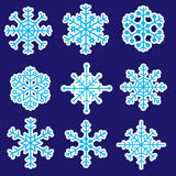 Snowflakes stickers icons eps10. Cold snowflakes stickers icons eps10 Stock Illustration
