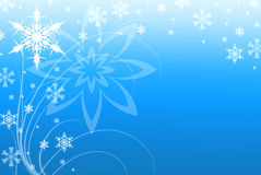 Snowflakes and Swirls Blue Background Illustration Royalty Free Stock Photos