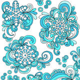 Snowflakes and Swirls Doodle Vector Stock Images