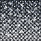 Snowflakes on transparent background. Christmas abstract pattern. Vector illustration.  royalty free illustration