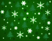 Snowflakes and trees background. stock photo