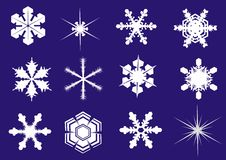 Snowflakes -twelve new forms. For winter scenes and ornaments vector illustration