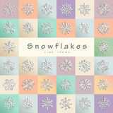 Snowflakes of various type and squares. Abstract simple geometri Stock Photo