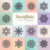 Snowflakes of various type and squares. Royalty Free Stock Images