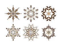 Snowflakes vector. Collection of snowflakes,  illustration. Snowflakes consist of isolated object and may be rearranged Royalty Free Stock Photo