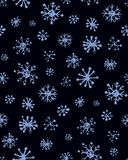 Snowflakes. Vector illustration. Cute eve natal icy asterisk pictogram template of nativity holiday design on light blue sky backdrop. Freehand outline black ink Royalty Free Stock Image