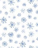 Snowflakes. Vector illustration. Cute eve natal icy asterisk pictogram template of nativity holiday design on light blue sky backdrop. Freehand outline black ink vector illustration