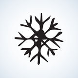 Snowflakes. Vector illustration. Cute eve natal icy asterisk pictogram template of nativity holiday design on light blue sky backdrop. Freehand outline black ink Royalty Free Stock Photos