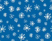 Snowflakes. Vector illustration. Cute eve natal icy asterisk pictogram template of nativity holiday design on light blue sky backdrop. Freehand outline black ink Royalty Free Stock Photo