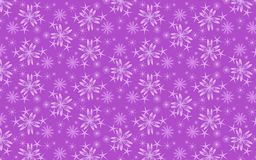 Cheerful lilac snow flakes pattern over mauve background. Snowflakes vector pattern. Geometric abstract seamless pattern of snowflakes and floral structures in stock illustration