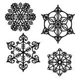 Snowflakes vector set in Christmas designs Royalty Free Stock Images