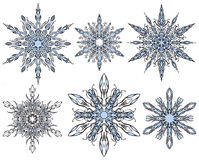 Snowflakes Vector Set. A set of snowflake ornaments for winter christmas holiday festive occasions Stock Photography