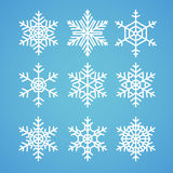 Snowflakes vector set. Vector pack of snowflakes design templates. Winter decoration elements Royalty Free Stock Image