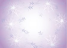 Snowflakes on violet  Stock Images